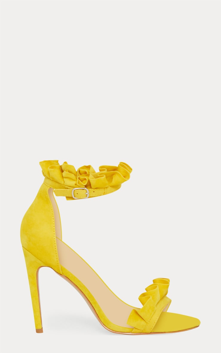 Bright Yellow Frill Strap Heels 3