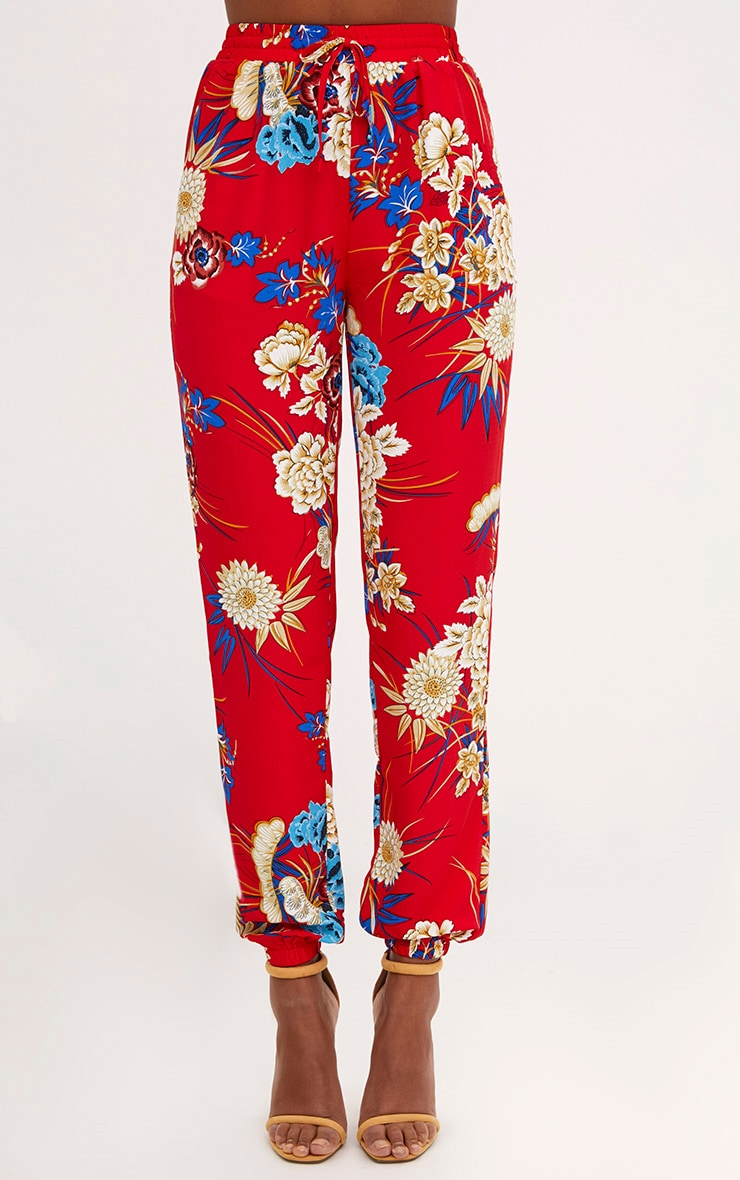 Red Printed Joggers 2