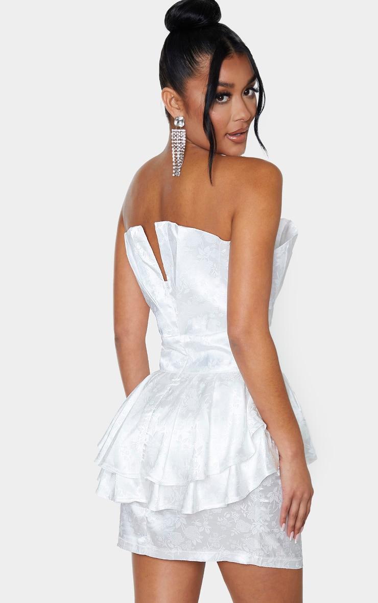 White Jacquard Bandeau Peplum Bodycon Dress 2