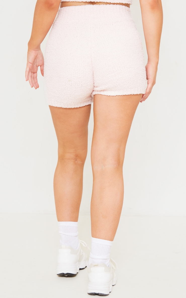 Baby Pink Premium Fluffy Knitted Shorts 3