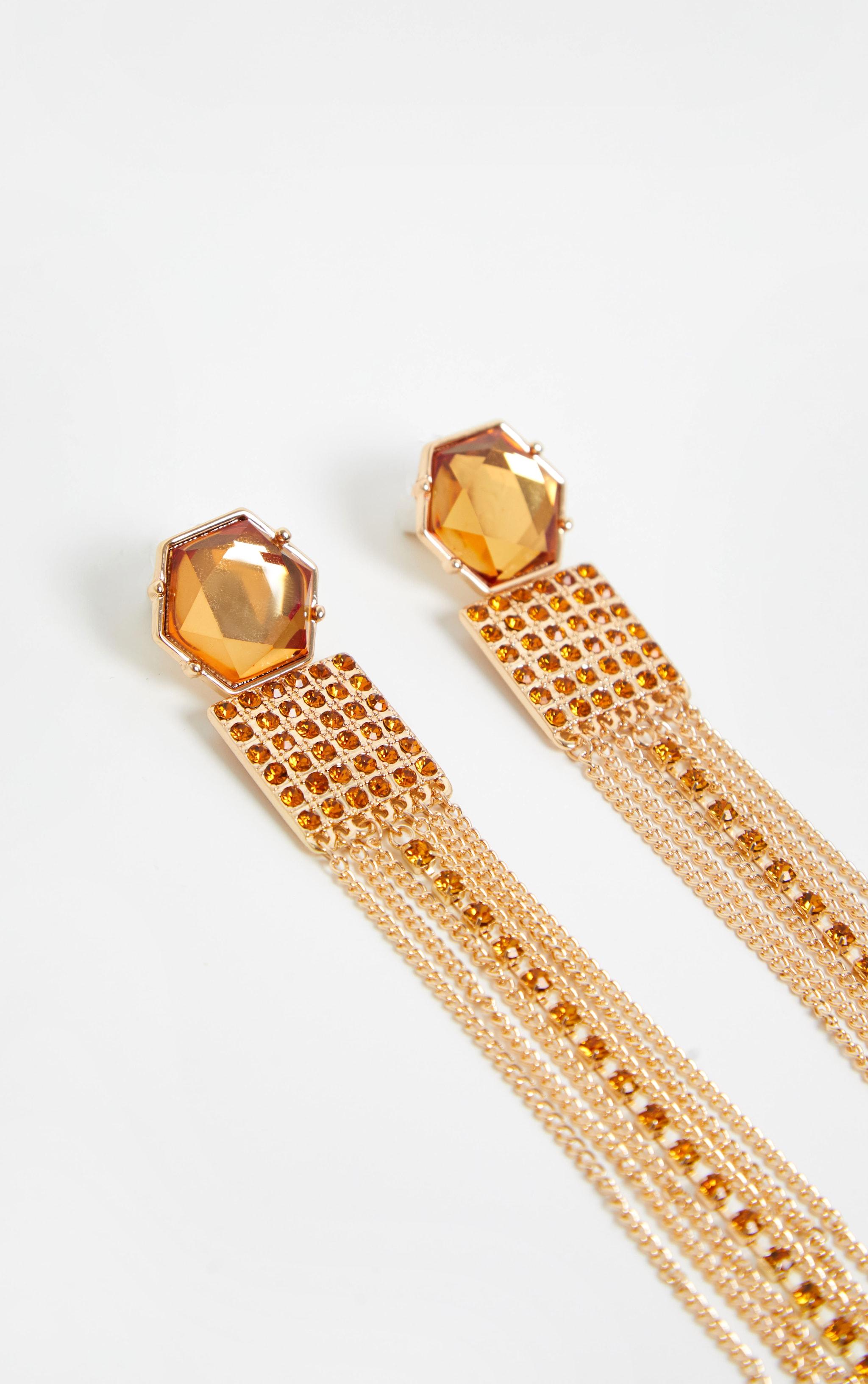Gold Multi Shape Gemstone Tassel Drop Earrings 3