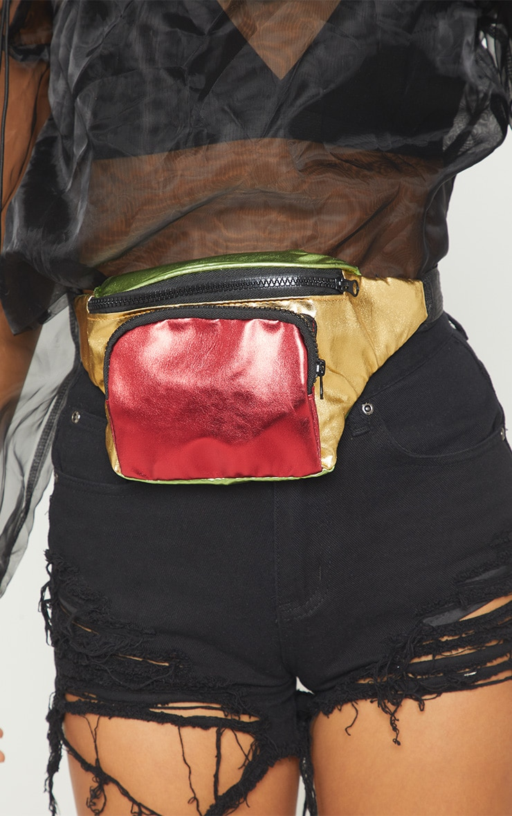 Red Multi Colour Metallic Fanny Pack 3