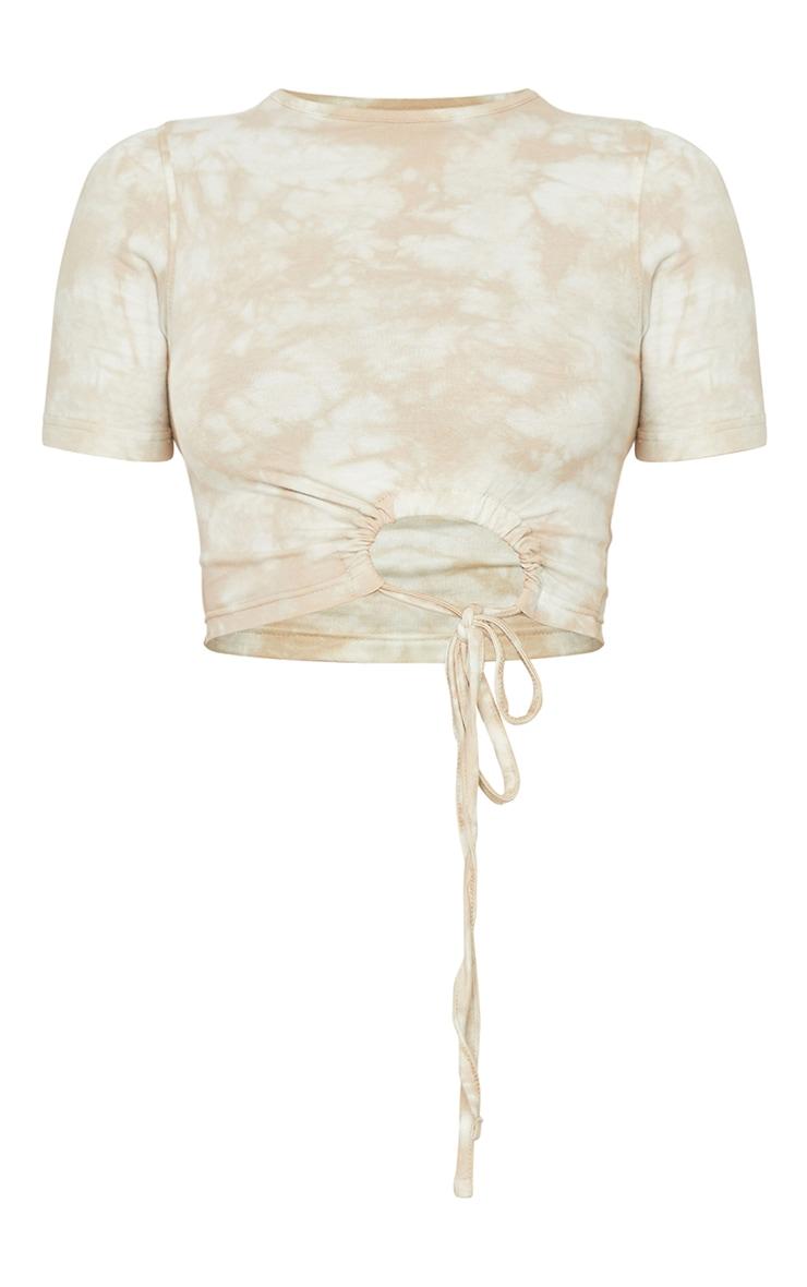 Crop top tie & dye sable en coton froncé à détail noué 5