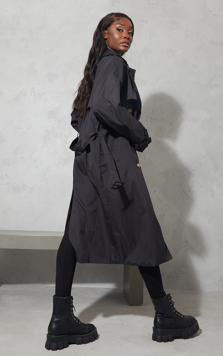 Tall Black Oversized Belted Midi Trench 2