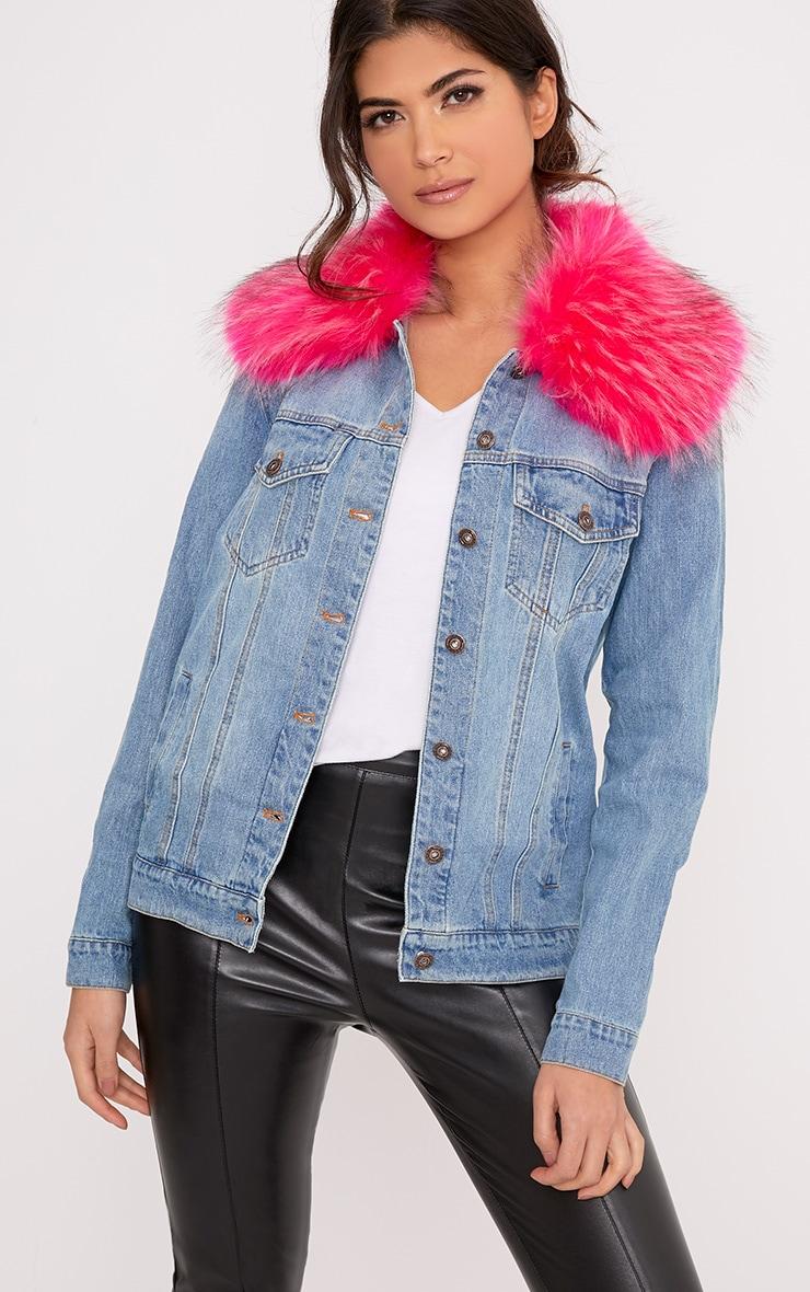 Avanie Bright Pink Faux Fur Collar Oversized Denim Jacket -9811