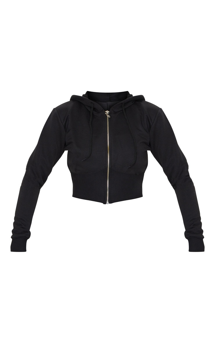 Black Zip Up Bustier Hoodie 5