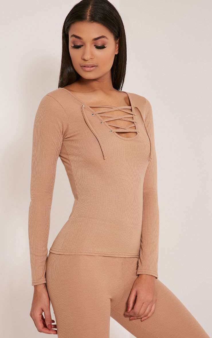 Luco Taupe Lace Up Ribbed Top 4