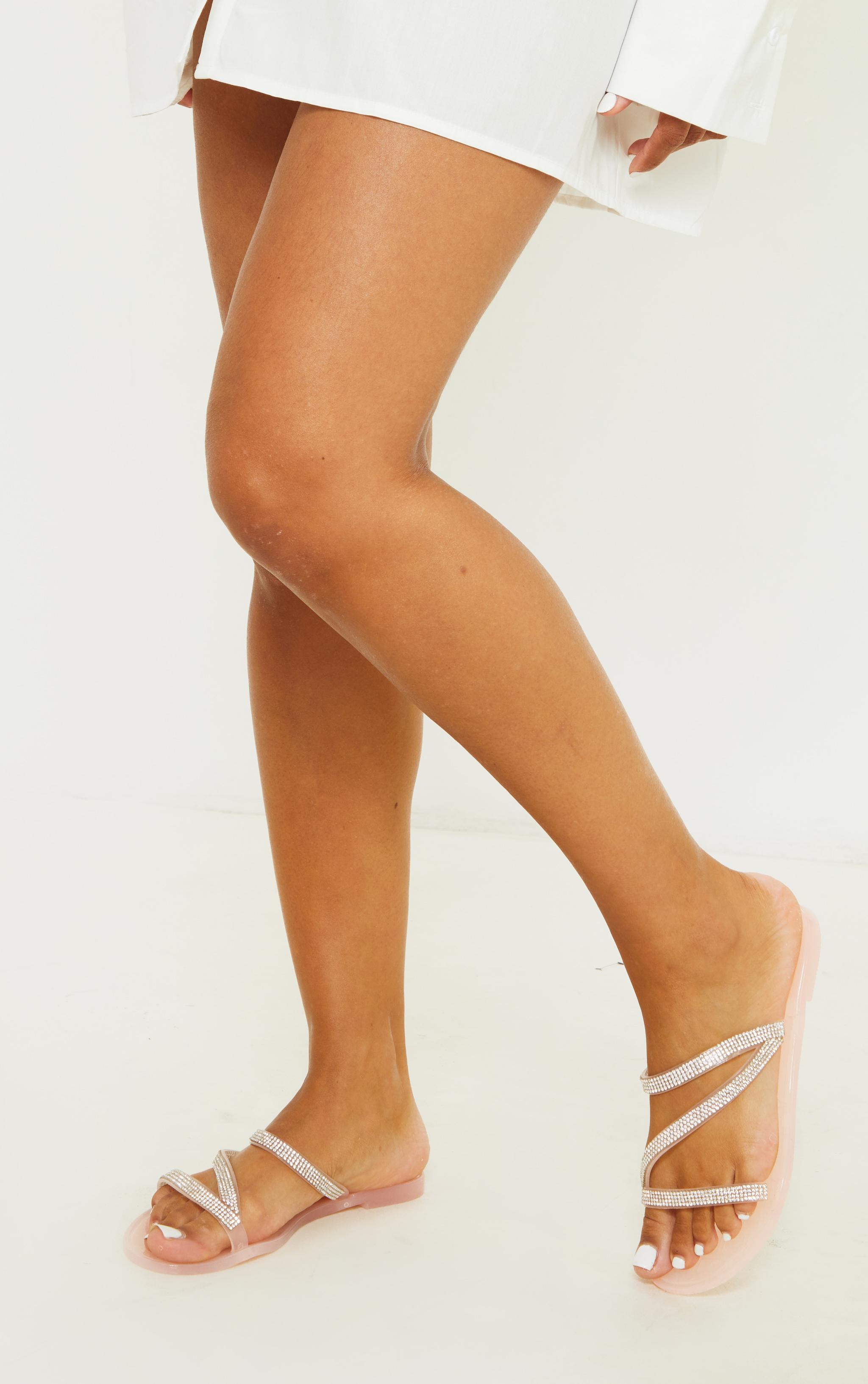 Pink Diamante Trim Asymmetric Strap Jelly Sandals 2