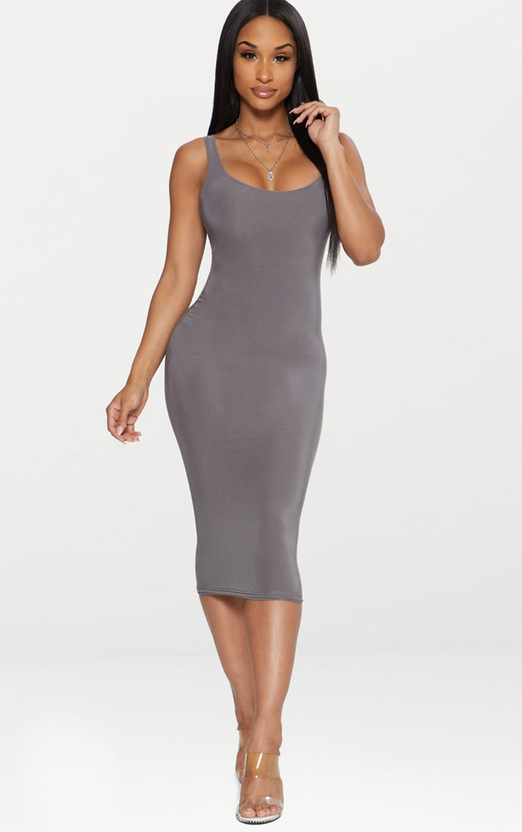 Charcoal Grey Second Skin Slinky Scoop Neck Midi Dress 1