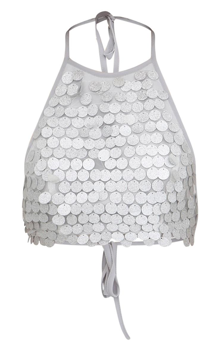 Silver Glitter Sequin Halterneck Crop Top 3