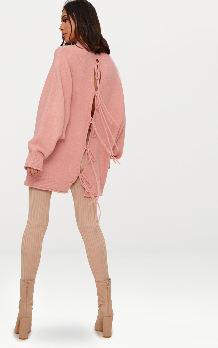 Pink Lace Up Back Oversized Knitted Jumper 4