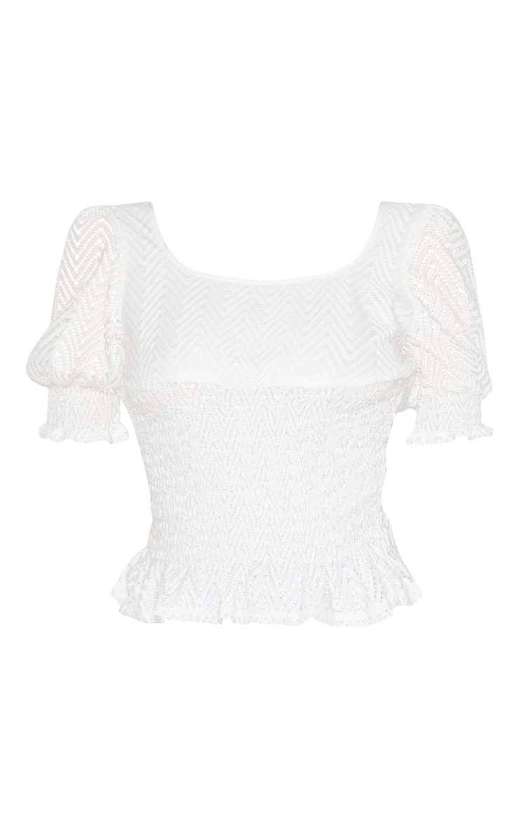 White Shirred Detail Short Sleeve Blouse 3