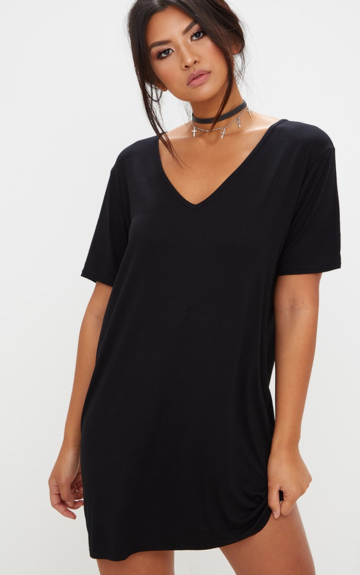 Black Jersey Back Strap Detail T Shirt Dress 2