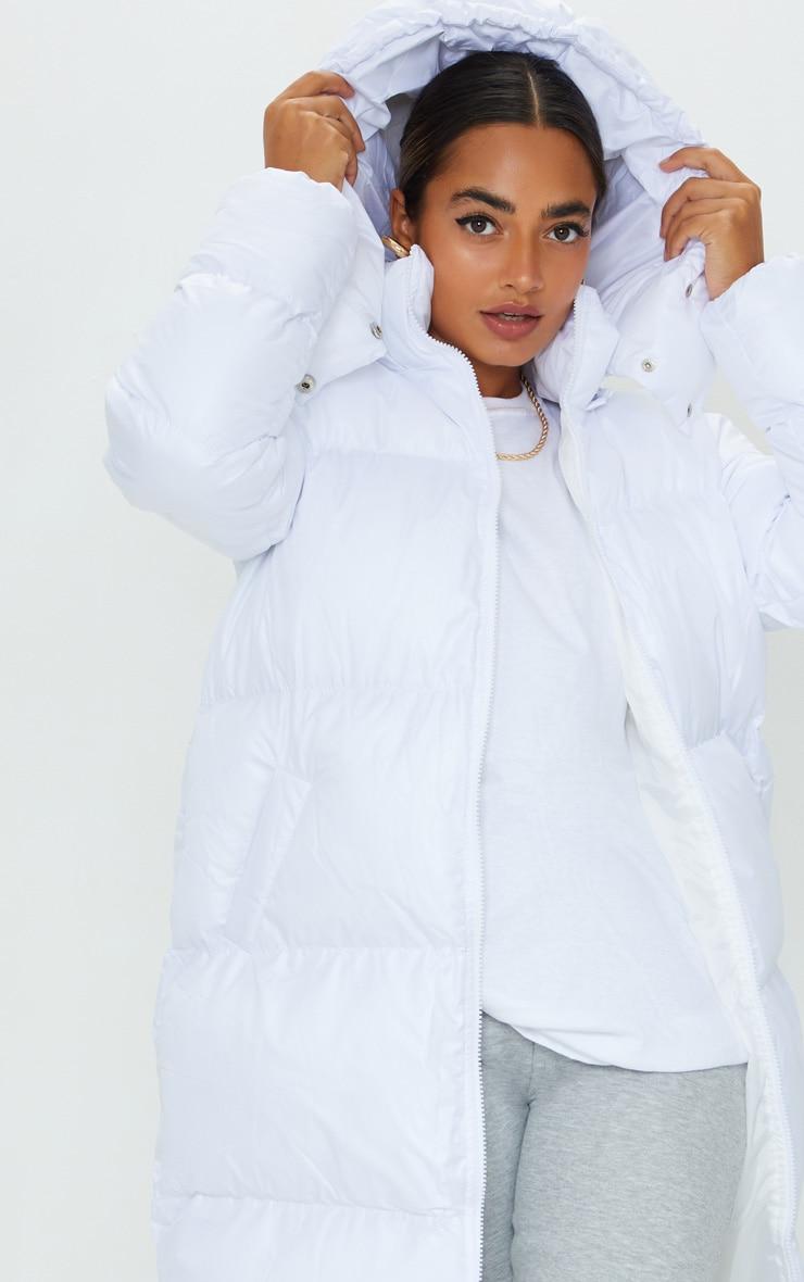 Petite White Maxi Puffer Coat 4