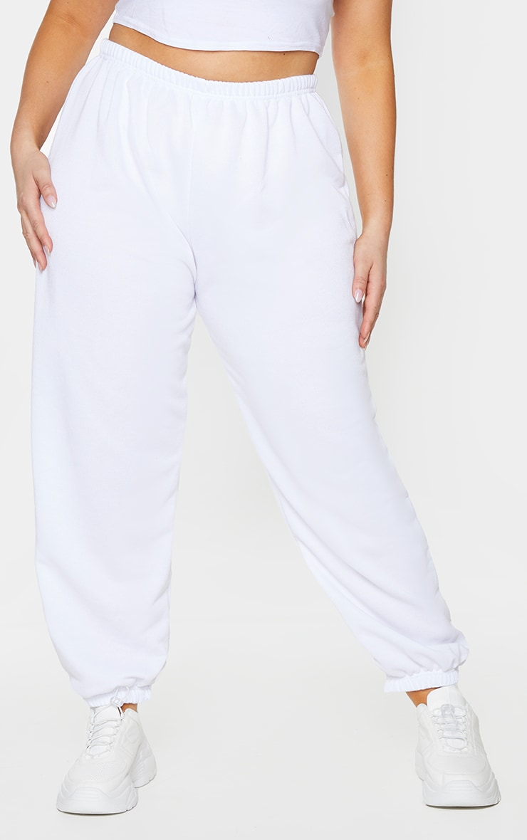 Plus White Basic Cuffed Hem Joggers 2