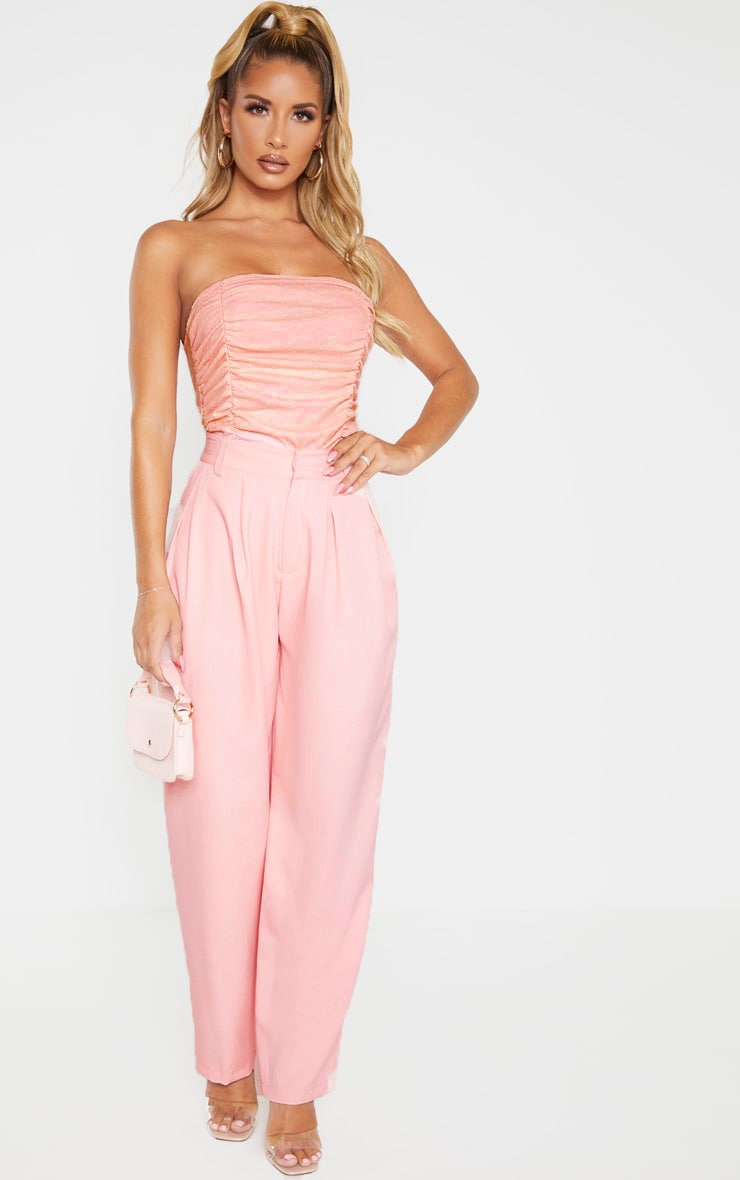 Pink Dobby Mesh Bandeau Ruched Bodysuit  4
