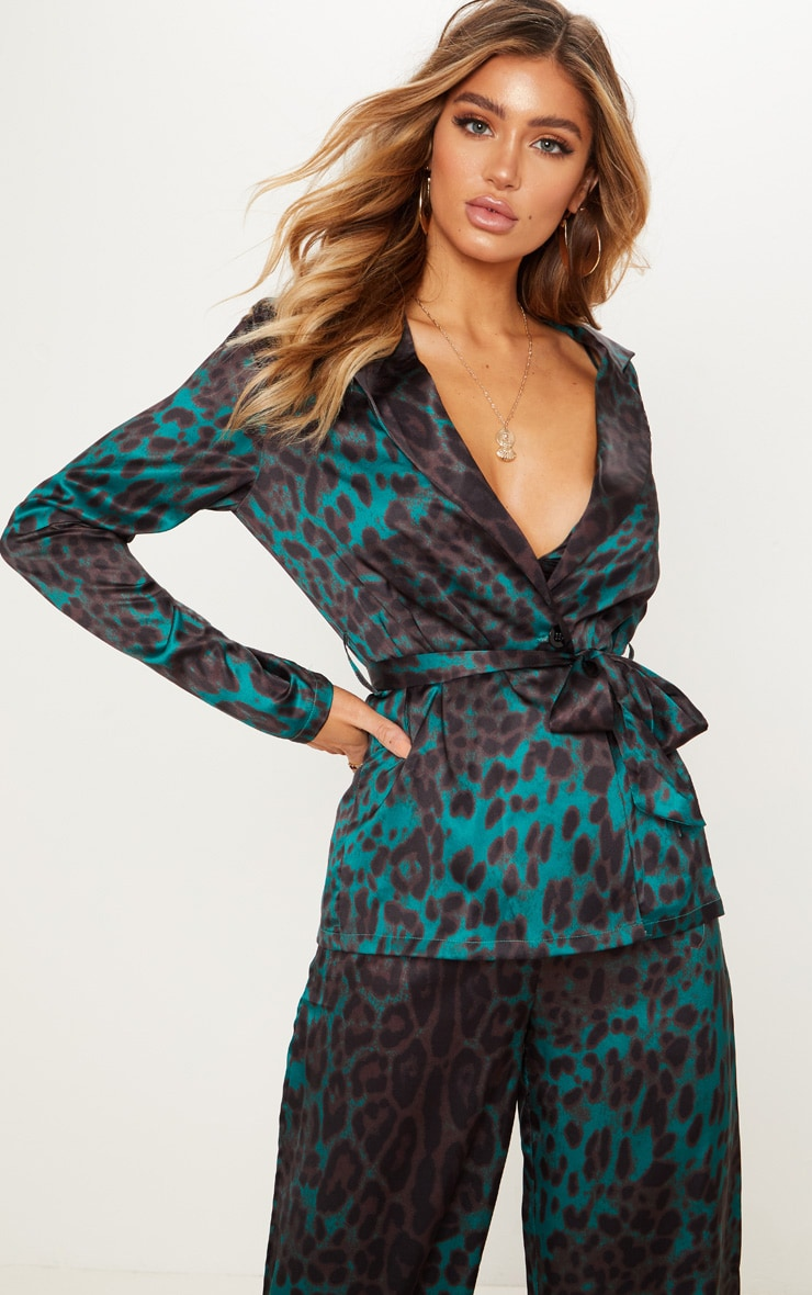 Emerald Green Leopard Printed Satin Belt Detail Blazer