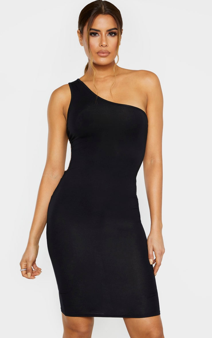 Tall Black One Shoulder Jersey Mini Dress 1