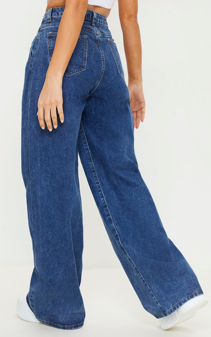 Dark Blue Wash Seam Detail Wide Leg Baggy Jeans 3
