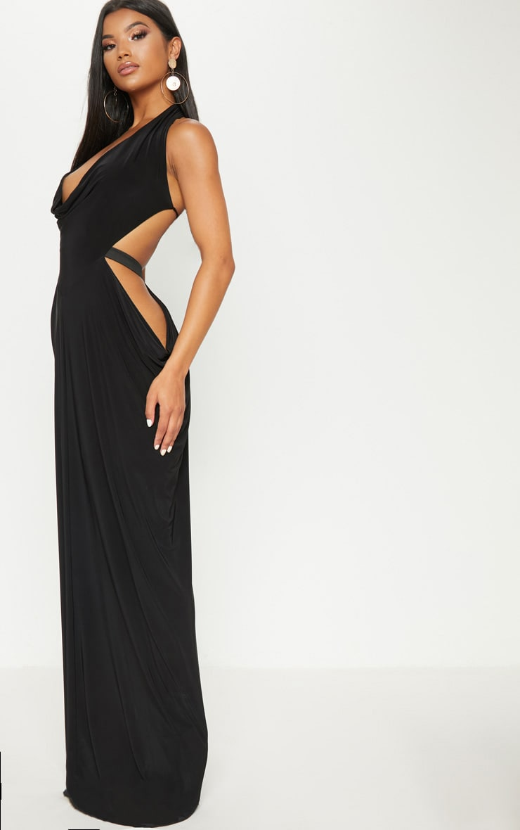 Black Extreme Cowl Maxi Dress 1