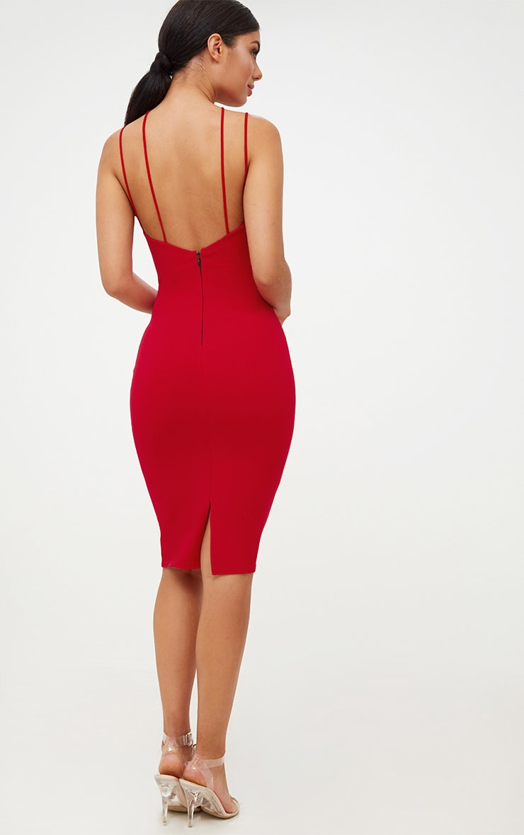 Red Cross Front Strappy Back Plunge Front Midi Dress 3