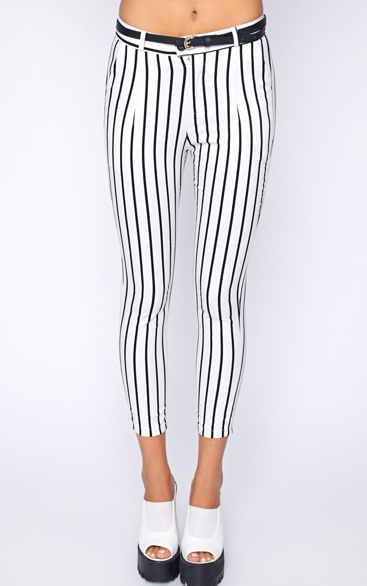 Cassie White Stripe Cropped Trouser  5