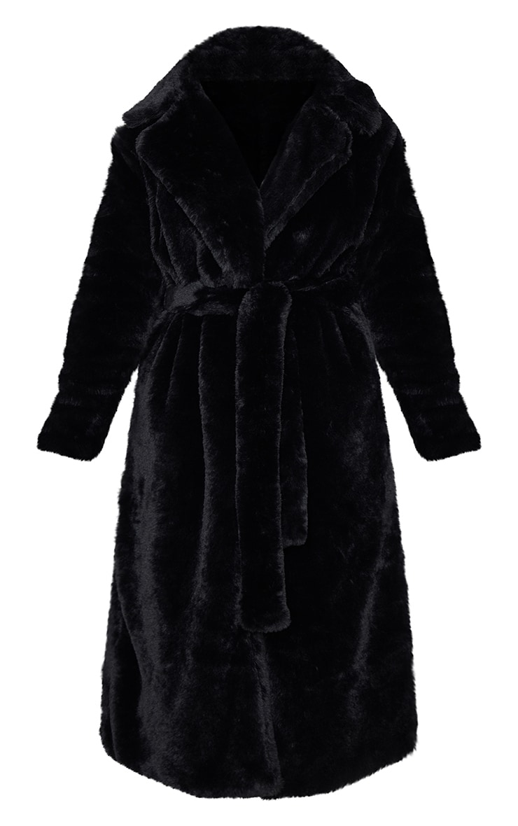 Petite - Manteau ceinturé en fausse fourrure noire 3