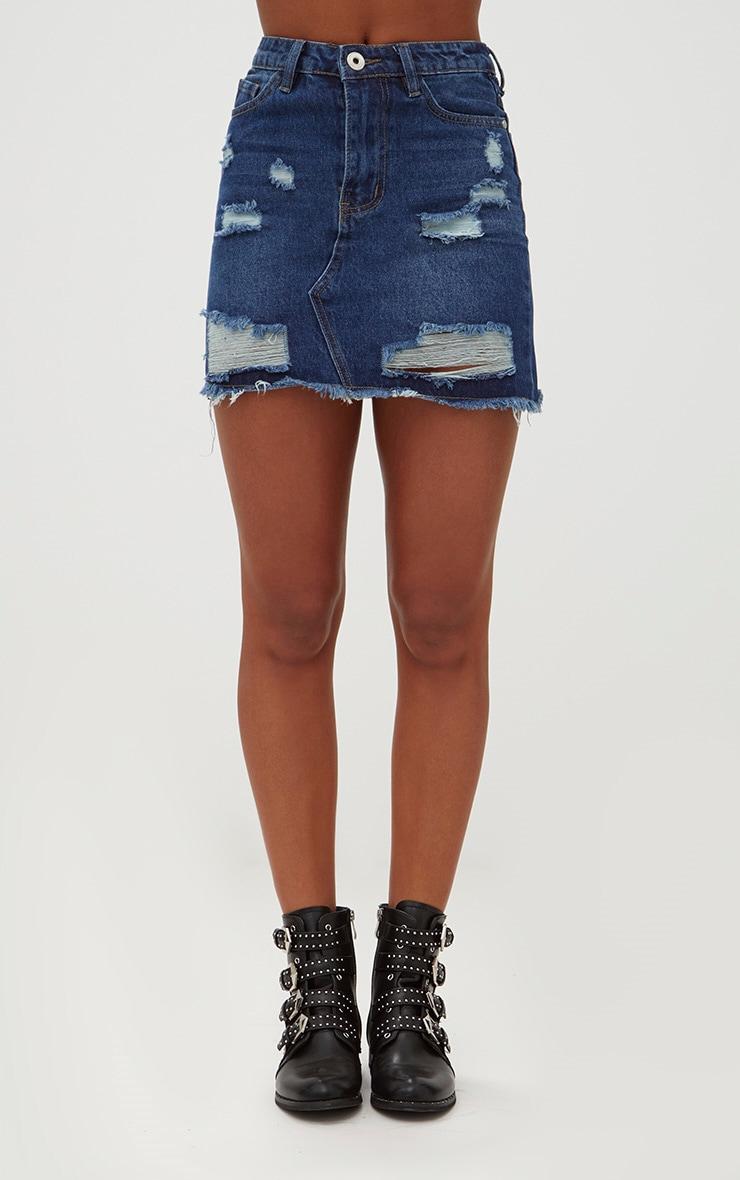 Dark Wash Distressed Rip Denim Mini Skirt 2