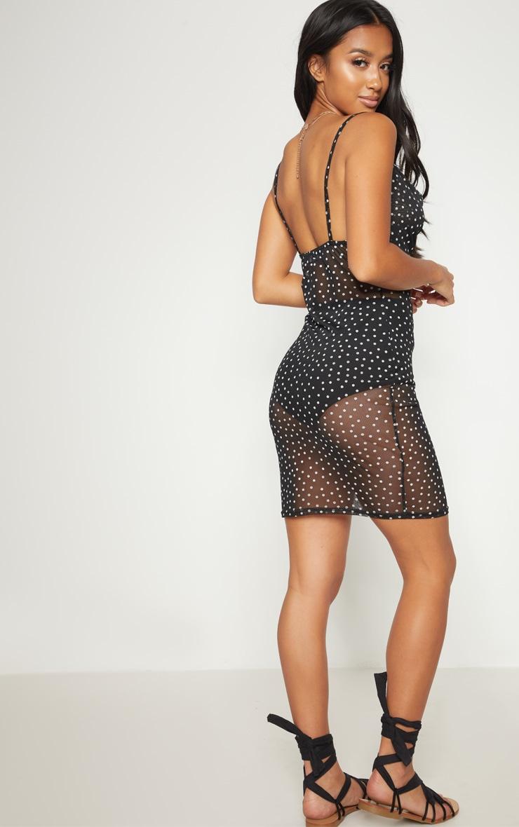 Petite Black Sheer Polka Dot Dress 2