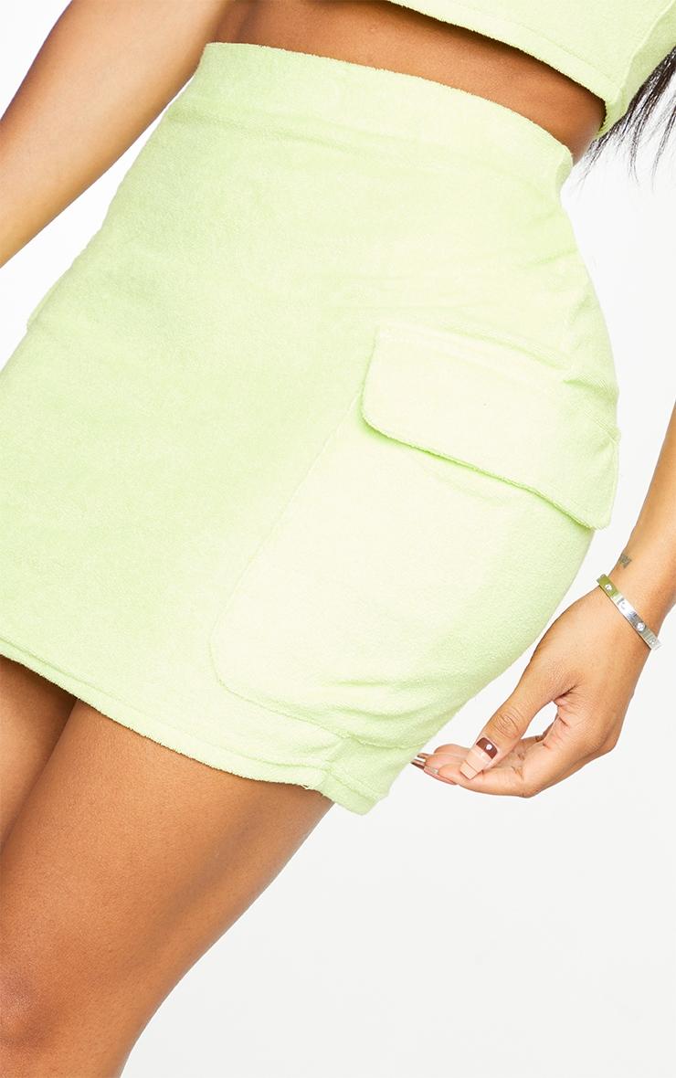 Shape Lime Velour Pocket Detail Bodycon Skirt 5