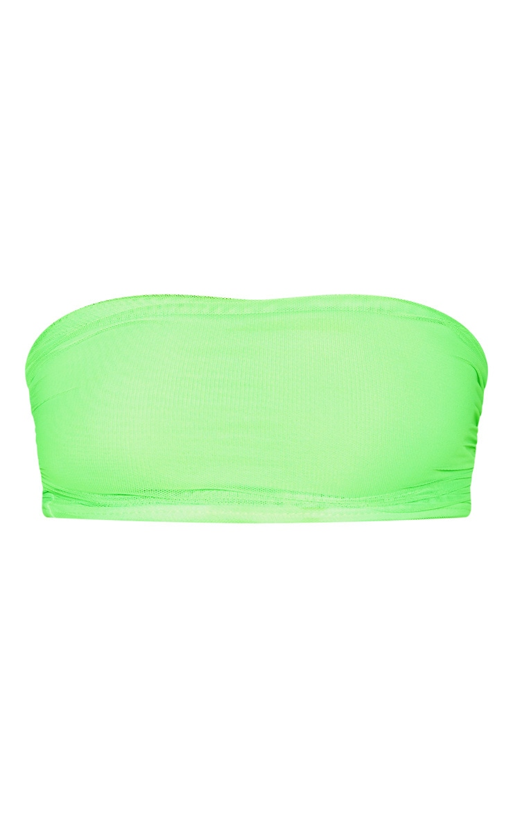 Neon Lime Mesh Ruched Bandeau Crop Top  3