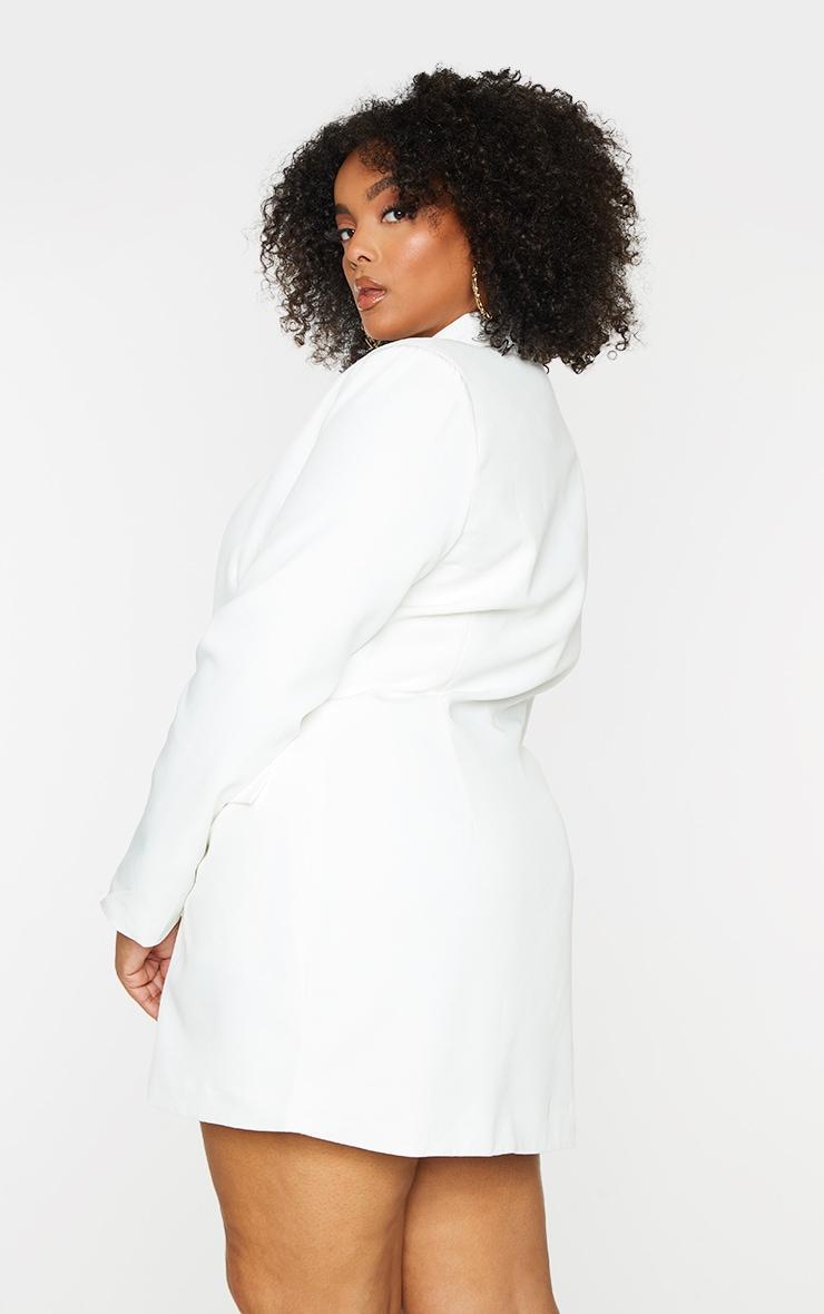 Plus White Gold Button Blazer Dress 2