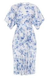 Robe mi-longue plissée à dos ouvert et imprimé floral bleu pastel 5