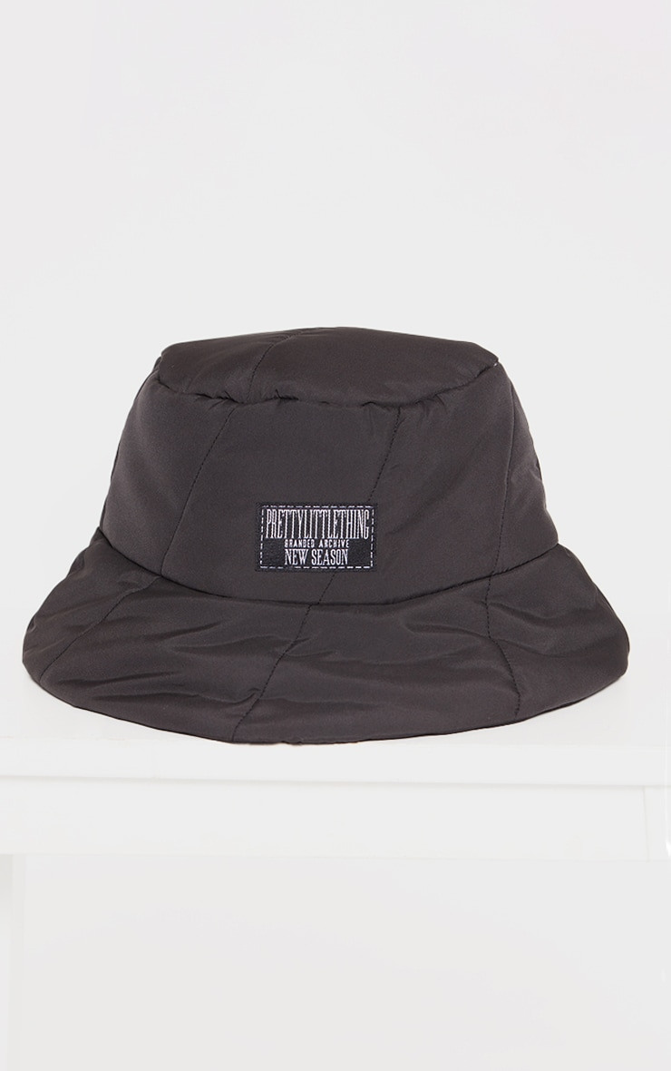 PRETTYLITTLETHING Black Quilted Bucket Hat 2