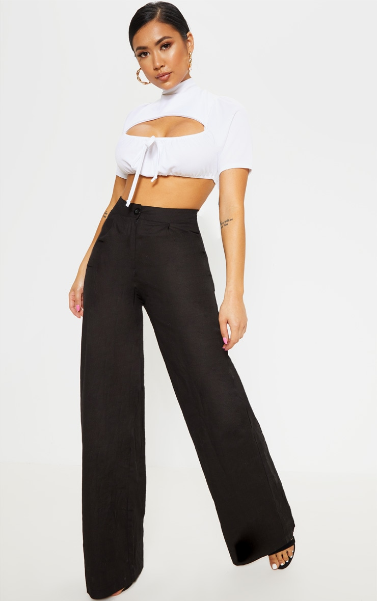 Petite Black Wide Leg High Waist Pants 1