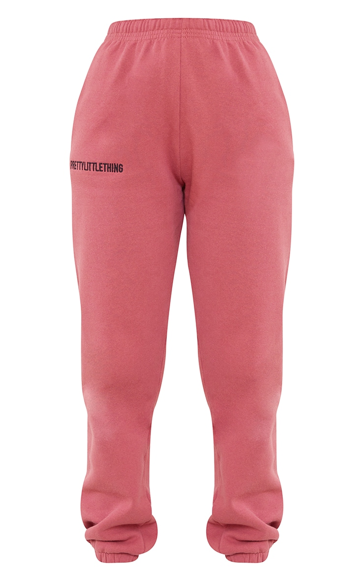 PRETTYLITTLETHING Deep Rose Embroidered Joggers 5