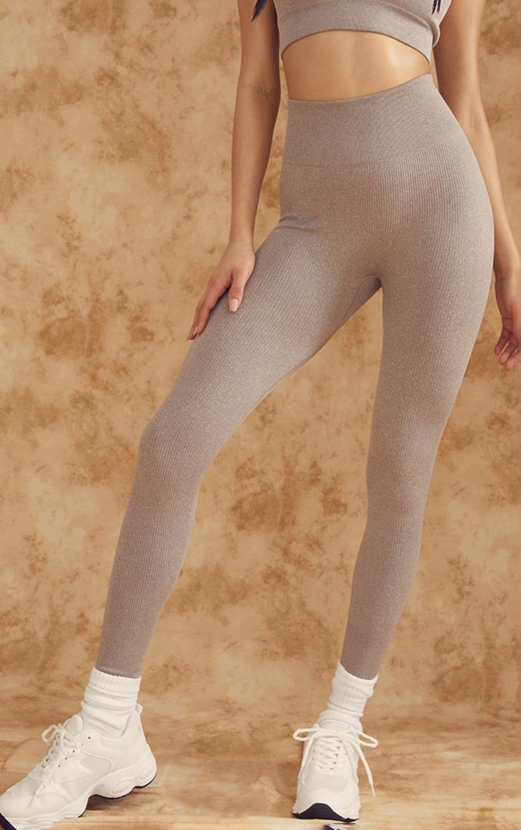 Taupe Marl Ribbed Seamless High Waist Gym Leggings 2