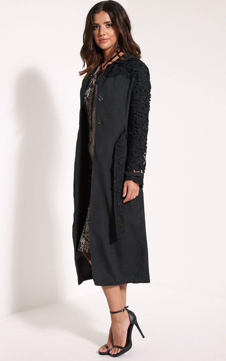 Karolina Black Crochet Lace Detail Trench Coat 3