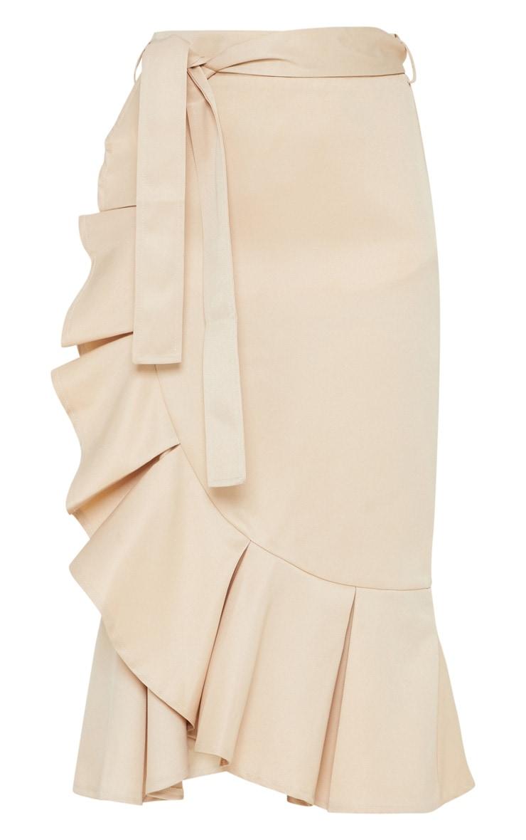 Petite Stone Woven Frill Detail Midi Skirt  3
