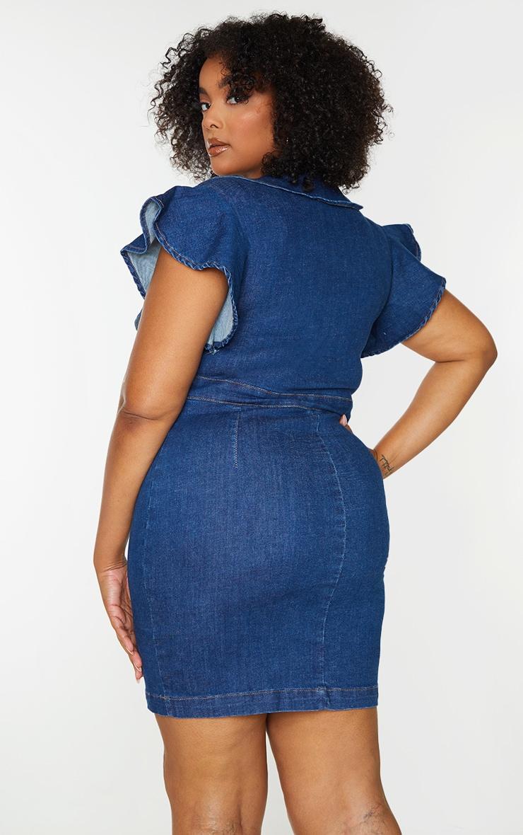 Plus Blue Wash V Neck Frill Sleeve Denim Dress 2