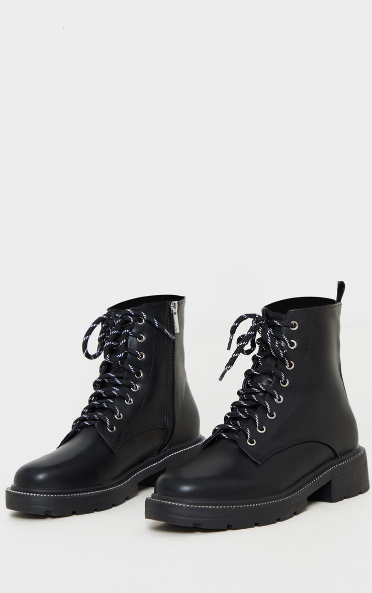 Black Chain Sole Cleated Chunky Lace Up Ankle Boot 3