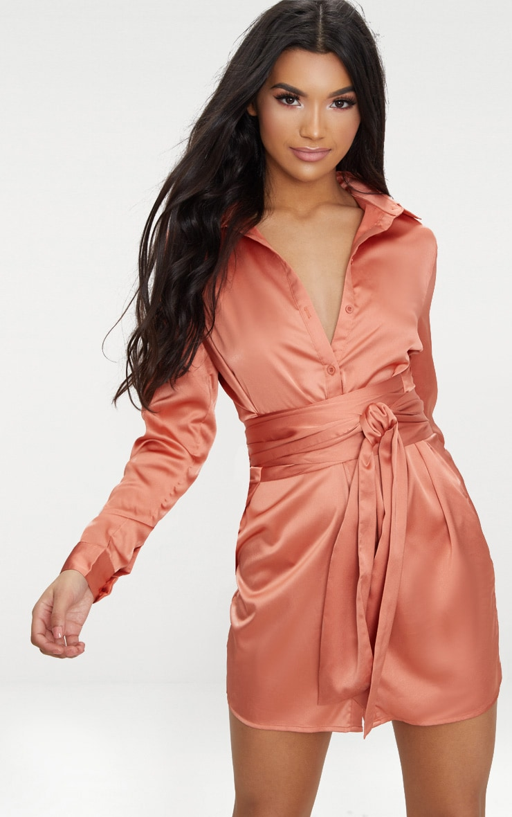 Copper Satin Tie Waist Shirt Dress 1
