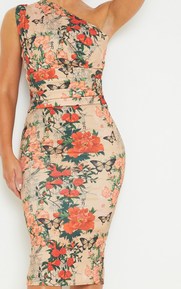 Stone Floral Print One Shoulder Ruched Detail Midi Dress 4
