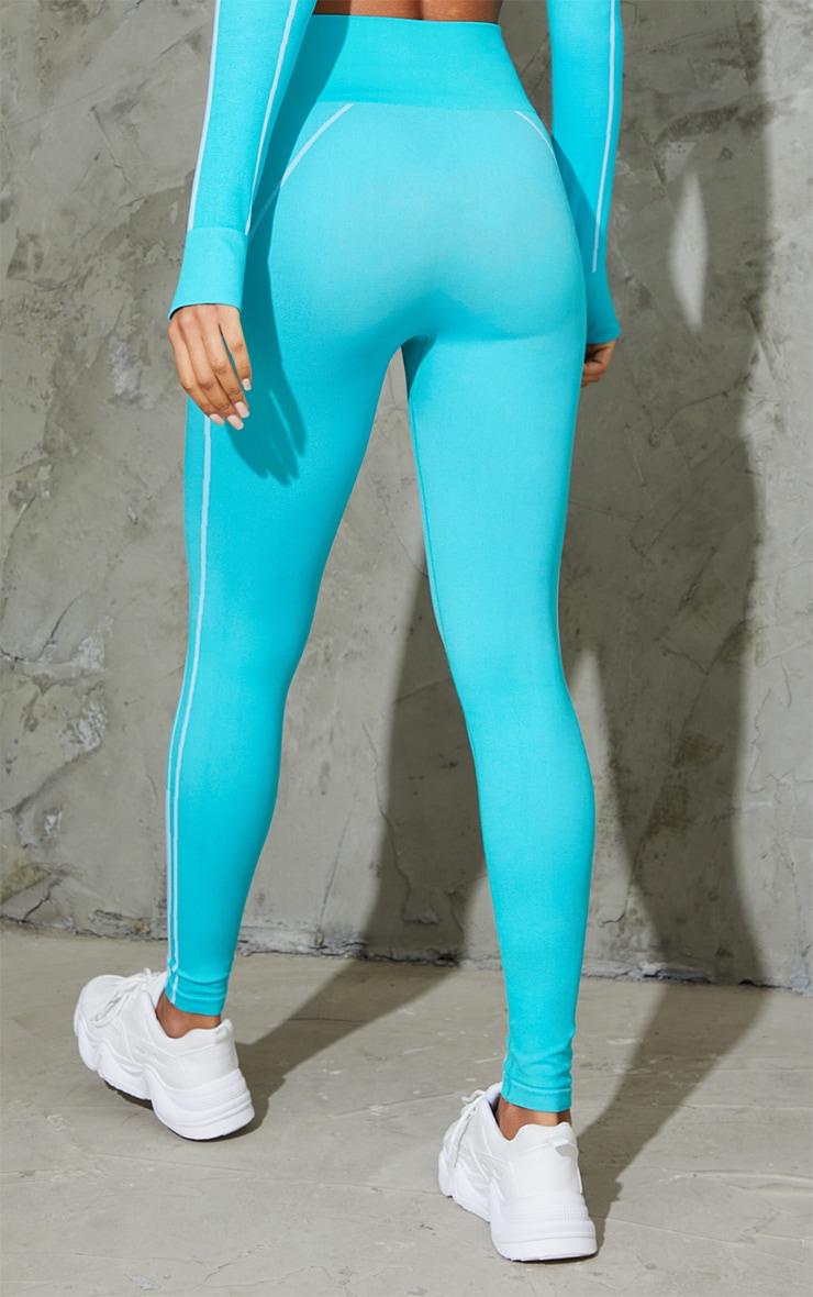 Blue Seamless Contrast Marl High Waist Gym Leggings 3