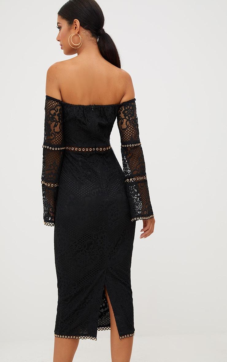 Black Lace Eyelet Detail Bardot Midi Dress  2