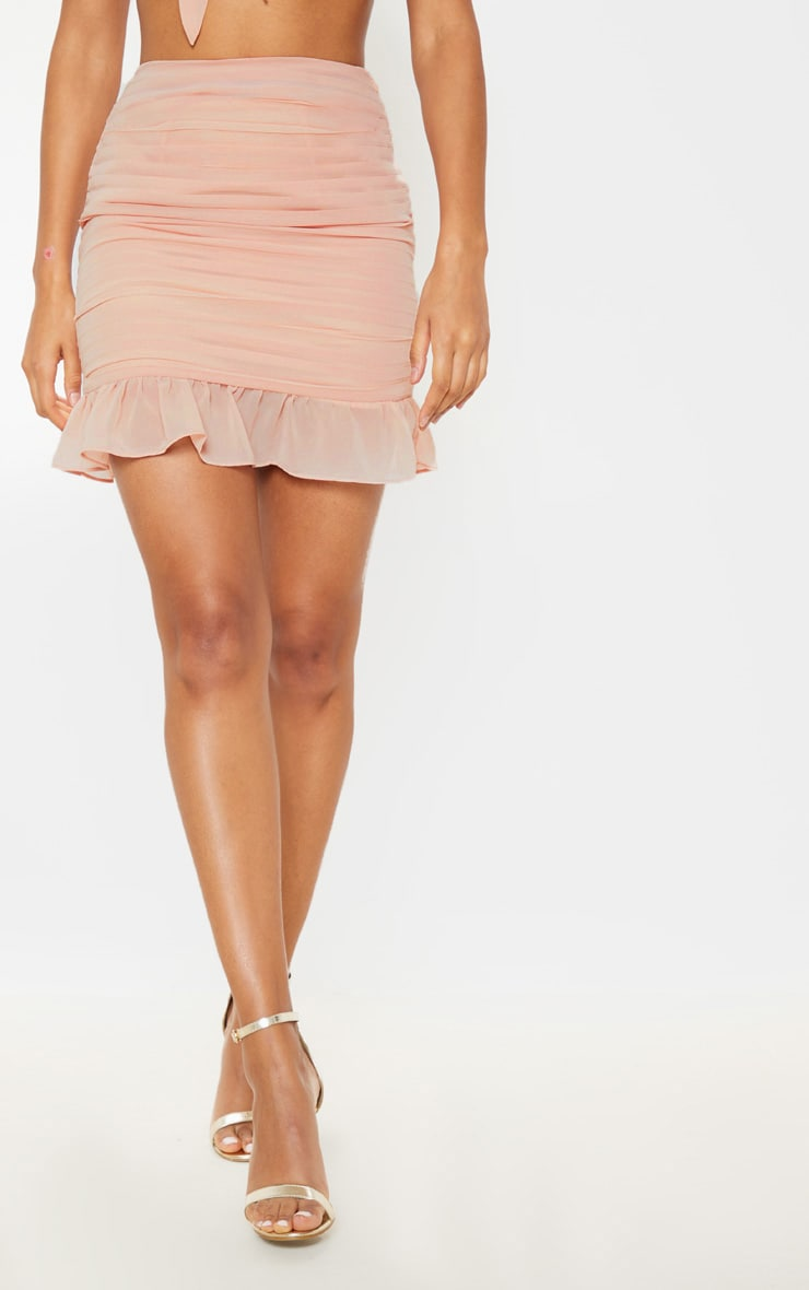 Dusty Pink Ruched Chiffon Mini Skirt 3