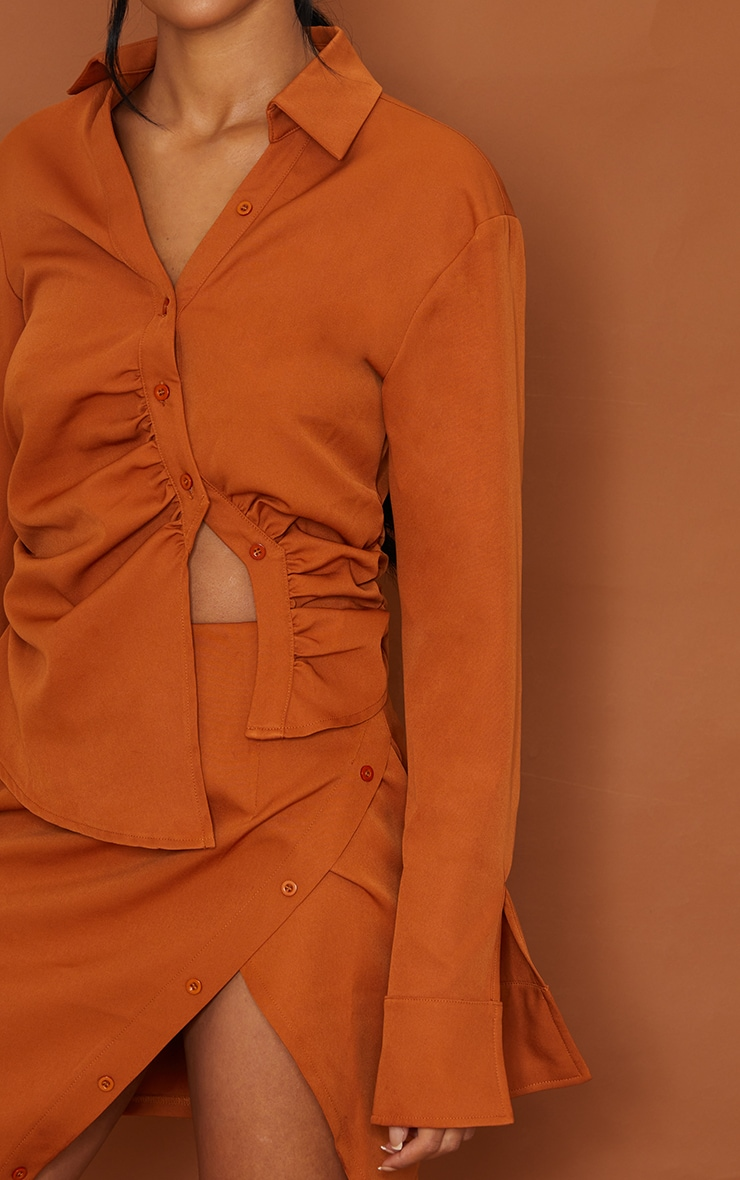 Tall Tan Ruched Blouse 4