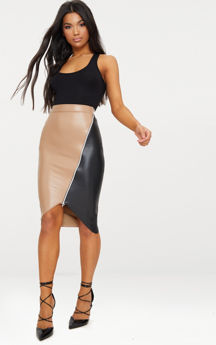 Stone Faux Leather Asymmetric Zip Midi Skirt 1