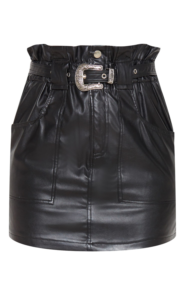 Black Western Belted Faux PU Skirt  3