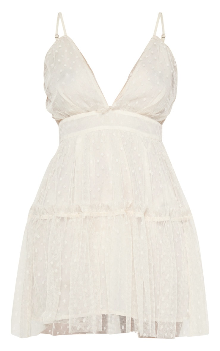 White Dobby Mesh Ruffle Skater Dress  3